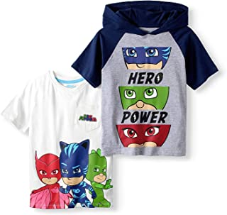 Short Sleeve T-Shirt - 2 Pack of PJMASKS Shirts - Catboy, Gekko, Owlette Pocket T-Shirt & Hooded Shirt