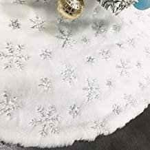 CHICHIC 48 inch Christmas Tree Skirt Faux Fur Xmas Tree Skirt Christmas Decorations Holiday Tree Ornaments Tree Decoration...