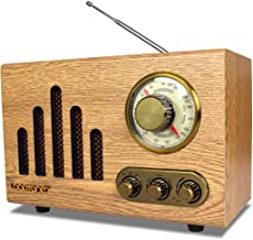 LoopTone FM AM Radio Retro Wood Radio with Bluetooth Play Mp3 and Antenna Built in Speaker for Kitchen Living Room Office (Wood)