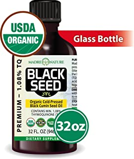 100% USDA Organic Certified Premium Black Cumin Seed Oil | Darkest & Highest TQ Content 1.08% | Nigella Sativa | Undiluted | Cold Pressed | Solvent Free | Certified Vegan & Non-GMO (32oz)