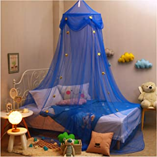 Hidecor Mosquito Net Canopy Bed Curtains Dome Princess Stars Bed Tent for Girls Boys Kids, Indoor Game House(Blue)