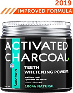 Activated Charcoal Teeth Whitening Powder - Improved 2019 Formula – Coconut Teeth Whitener – Effective Remover Tooth Stains for a Healthier Whiter Smile - Product of UK by Sunatoria