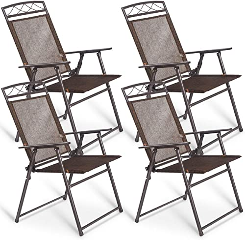 popular Giantex sale Set of 4 Patio Folding Sling popular Chairs Steel Camping Deck Garden Pool Backyard Chairs outlet sale