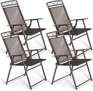 Giantex Set of 4 Patio Folding Sling Chairs Steel Camping Deck Garden Pool Backyard Chairs