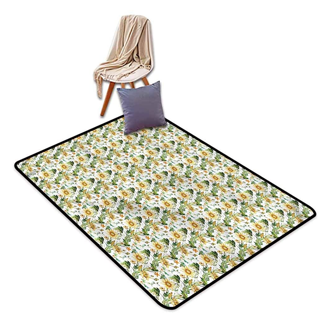 Classroom Rug,Sunflower Corn Agriculture Farming,Children Crawling Bedroom Rug,3'11