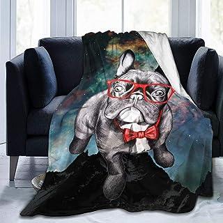 AUISS Plush Throw Velvet Blanket Funny French Bulldog with Glasses Thermal Fleece Carpet Living Room Bedspreads for Women ...