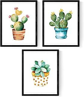 comprar comparacion Nacnic Pack de 3 láminas para enmarcar Cactus. Estilo Acuarela. Tamaño A4.