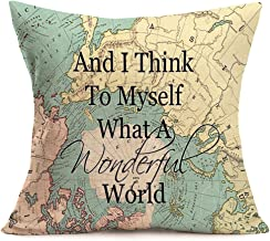 Smilyard World Map Pillow Case and I Think to Myself What A Wonderful World Quote Pillowcase Cotton Linen Pillow Covers Square18X18 Inch Home Sofa Moving Gift
