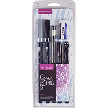 Tombow 56190 Beginner Lettering Set. Includes Everything You Need to Start Hand Lettering, black