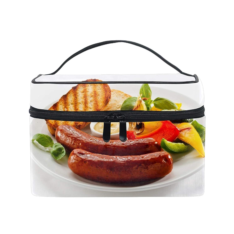 厚くするやめる味化粧ポーチ レディース 人気 コスメポーチ ポーチ 大容量 かわいいソーセージバーベキューパンソース野菜