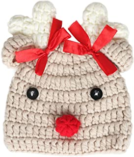 Ypser Infant Baby Knitted Beanie Photo Prop Crochet Knit Cap Deer Hat with Bow