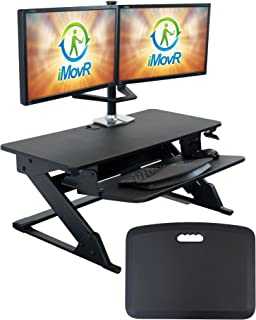 "iMovR ZipLift+ Classic 35"" Standing Desk Converter with Ergonomic Tilting Keyboard Tray in Black with EverMat Standing Mat"