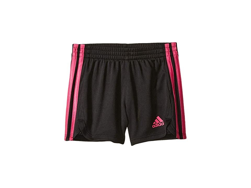 Image of adidas Kids 3 Stripe Mesh Shorts (Toddler/Little Kids) (Black/Bright Pink) Boy's Shorts