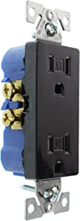 Hubbell RRD15SBKTRZ Duplex Decorator Receptacle Outlet, TR, 15-Amp, 120-Volt, Black, (8-Pack)