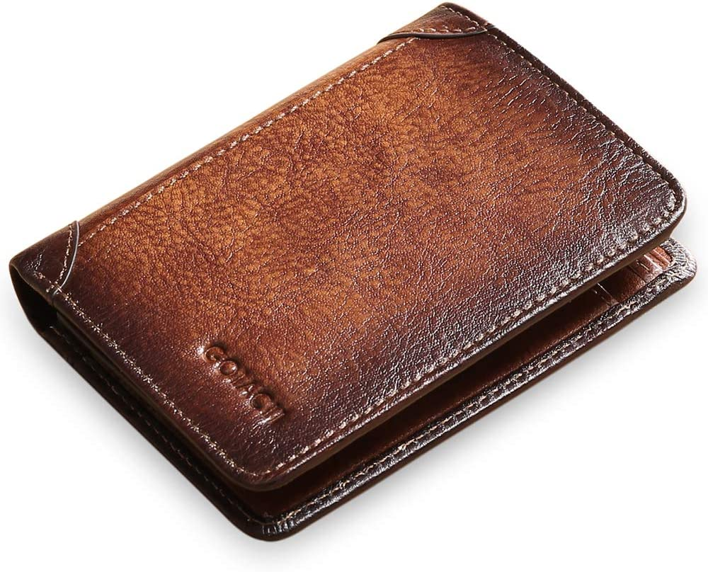 GOIACII Slim Wallet for Men Genuine Leather RFID Blocking Trifold Wallet with 2 ID Window
