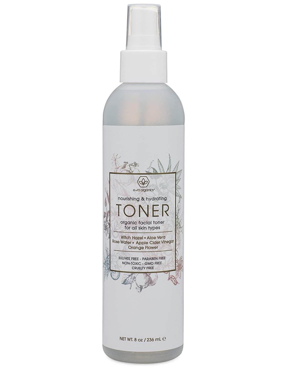 Facial Toner & Organic Face Mist - Extra Nourishing & Hydrating Natural Facial Mist with Witch Hazel, Apple Cider Vinegar, Rose Water for Dry, Oily, Acne Prone Skin Balance pH 8oz Era-Organics