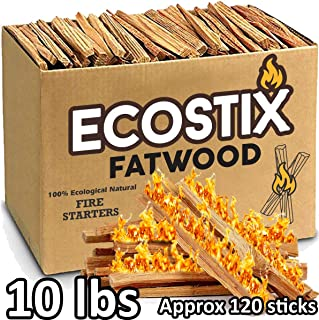EasyGoProducts Approx. 120 Eco-Stix Fatwood Starter Kindling Firewood Sticks Wood Stoves Camping Firestarter Fire Pit BBQ,...