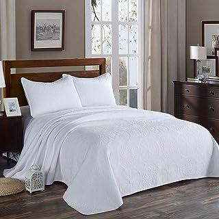 Unimall Moderna 1*Colcha Blanca para Cama 150, Material Reversible (250cm*270cm) 2*Funda de Almohada 50*70 cm, de Artesanía de Bordado