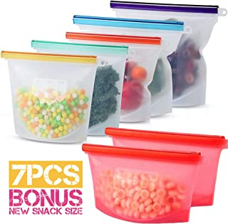 Reusable Silicone Food Bag Silicone Bags Reusable Sandwich Bags Lunch Bag Containers Eco-Friendly Storage Bags Sous Vide Freezer Microwave Dishwasher Safe Leakproof Stand Up Airtight Seal