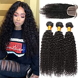 YOUFA Brazilian Curly Hair 3 Bundles With Lace Closure Curly Weave Human Hair Bundles Remy Hair Natural Black Color (10