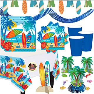 Surf's Up Summer Beach Party Supplies and Decorations Pack For 36 Guests With Plates, Napkins, Cups, Tablecover, Surfboard Banner and Center Piece, Palm Tree Centerpiece, Blue Garland and Pin