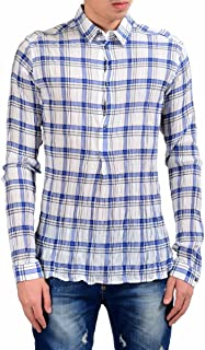 Men's 1/2 Button Plaid Dress Shirt Size US 16 IT 41