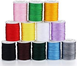ABSOFINE 12 Rollen Nylon Seil Schnur farbigen Sicken Faden Schnur 10m Durchmesser 0.8mm für DIY Halskette Armband Handwerk Bastel Schmuckherstellung