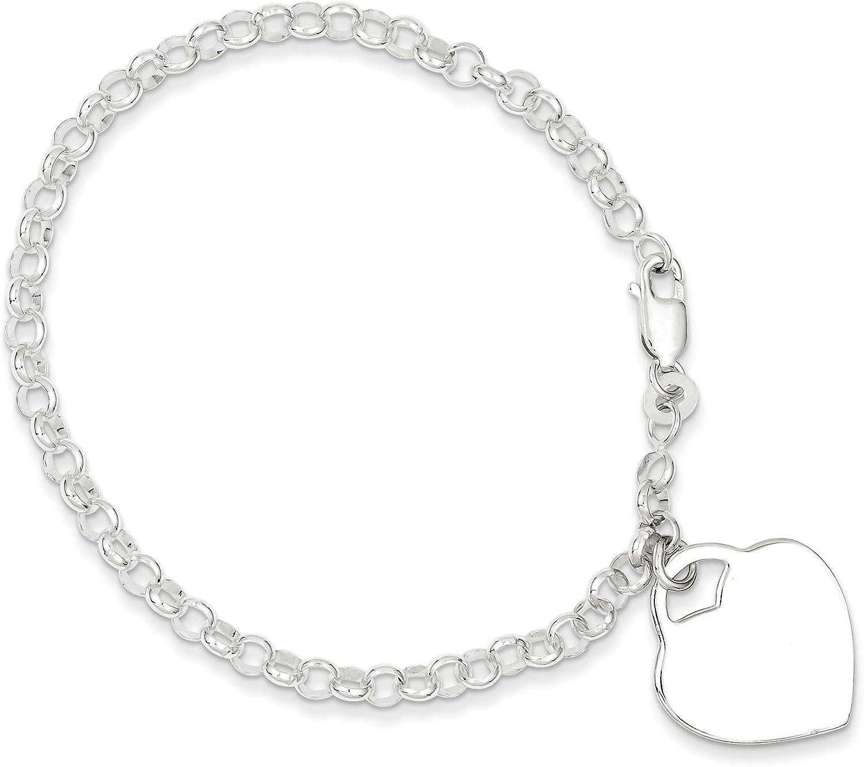 Sterling Silver Heart Rolo Bracelet Link Ranking supreme TOP9 7.25