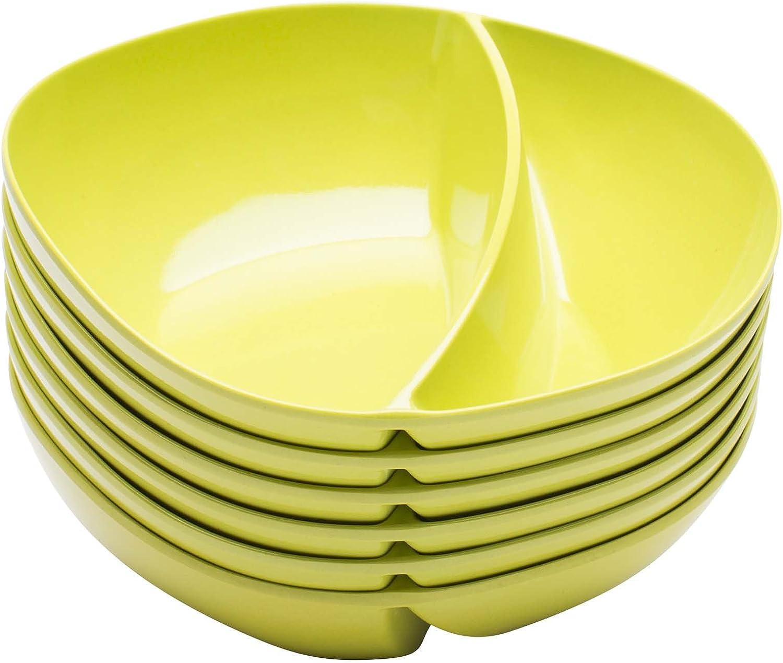 Zak  Designs Moso Divided Bowl, 100% Natural Materials and BPA-free, 7.5 , Kiwi, Set of 6
