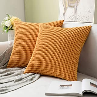 MIULEE Pack of 2 Fall Decorative Throw Pillow Covers Soft Corduroy Solid Cushion Case Orange Pillow Cases for Couch Sofa Bedroom Car 18 x 18 Inch 45 x 45 cm