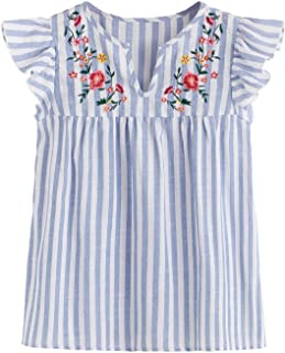 Floerns Women's Summer Floral Embroidered Striped Blouse Tops