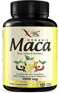 Sponsored Ad - Organic Maca Root Powder Capsules Black, Red, Yellow - 150 Vegan Pills - 1500mg Strongest Peruvian Maca Gel...