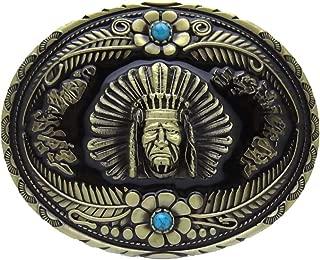 HOMYL Rodeo Indian Blue Rhinestone Western Cowboy Indian Tribal Chief Pattern Belt Buckle 8.6x7cm