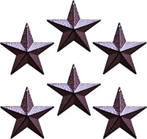 JIOSSNN Metal Barn Star – Star Wall Decor, Metal Stars for Crafts Rustic Vintage Western Country Home Farmhouse Wall Decor 4-Inch, Set of 6. (Bright Burgundy)