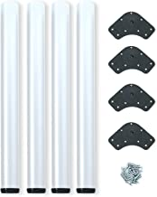 Emuca - Patas de mesa regulables Ø60x710mm, kit de 4 patas de acero, altura regulable 710-730mm, color blanco