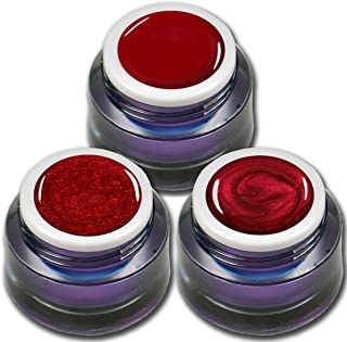 RM beautynails Premium UV Gel Set Red Stars por 5 ml un gel de colores – brillo Gel – Gel en Color Rojo Metálico Diseño de...