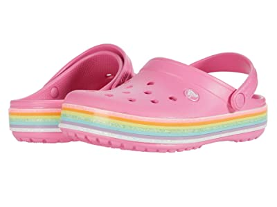 Crocs Kids Crocbandtm Rainbow Glitter Clog (Toddler/Little Kid/Big Kid) (Pink Lemonade) Girl