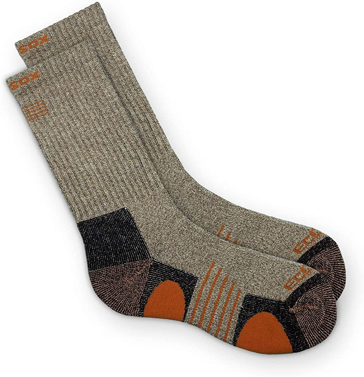 EcoSox Bamboo Viscose Full Cushion Hiking/Outdoor Crew Socks for Men & Women | Keep Your Feet Dry, Odor, & Blister Free (Large - Brown with Orange)