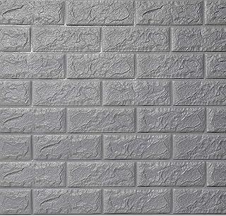 Papel Tapiz Autoadhesivo, 3D Ladrillo De Espuma Impermeable Anti-humedad Fondo De Pantalla Para Dormitorio Salón Cuarto De Niños Protección De La Pared -5 Piezas-Gris plateado-70x77cm(28x30inch)