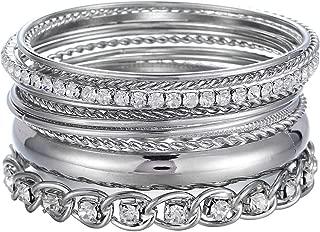 ENSOUL Twisted Multiple Metal Bracelets & Bangles Set for Women 12Pcs/Set W/Clear Rhinestones