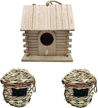 Bird House for Outdoor Hanging,Hand Woven Natural Grass Hummingbird Nest Garden Patio Decorative Wooden Birdhouse for Wren Sw