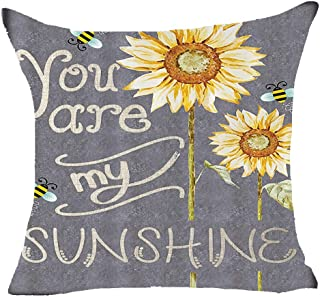 FDROL Happy Autumn You Are My Sunshine Sunflowers Bees Grey Background Cotton Linen Pillowcase Cushion Cover Case For Sofa Living Room Office Decorative Throw Pillow Case Cover Square 18X18 inch (F)