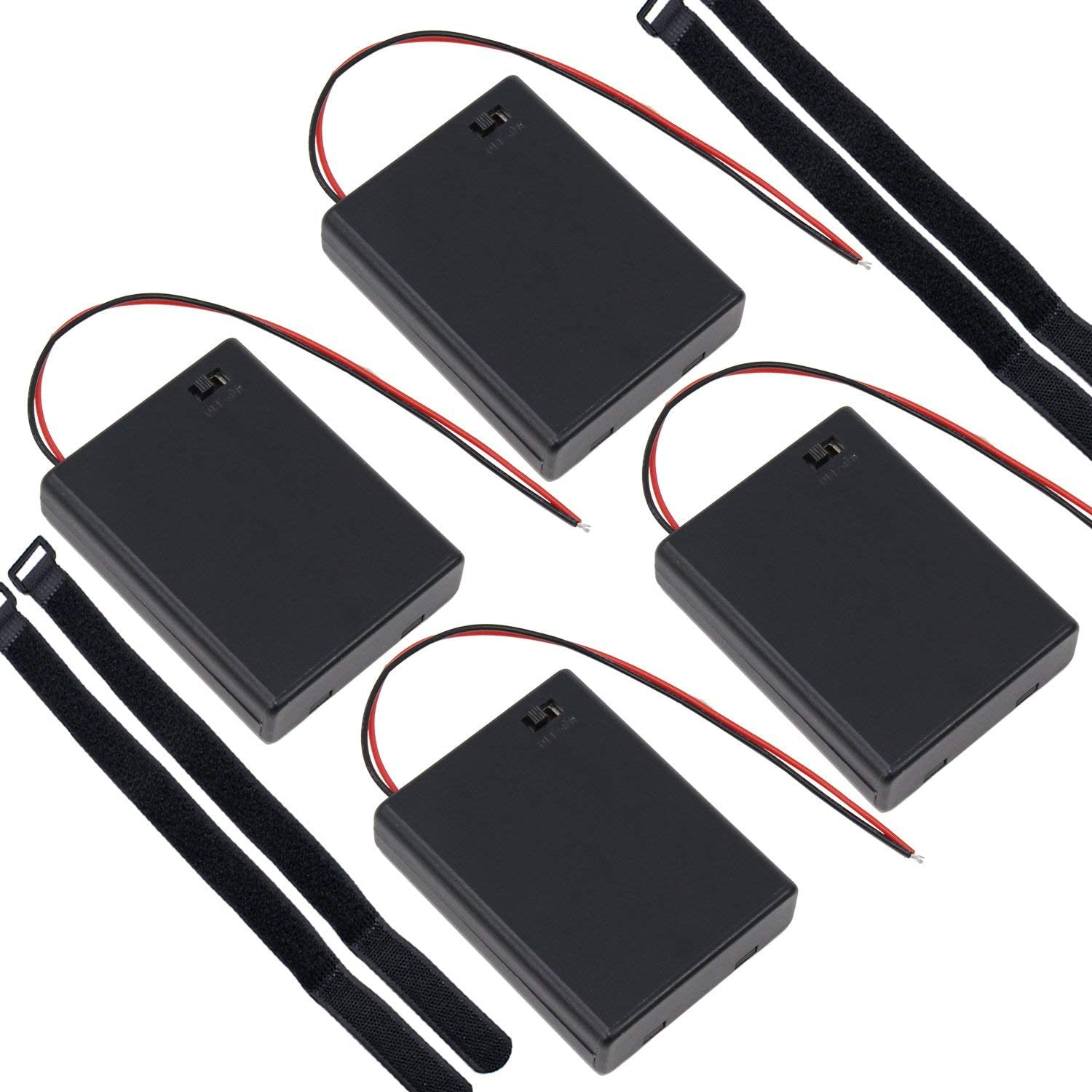 abcGoodefg 4 x AAA Battery Holder Case Storage Box with ON/Off Switch with Wire Leads and Self-Adhesive Cable Ties 4 Pack