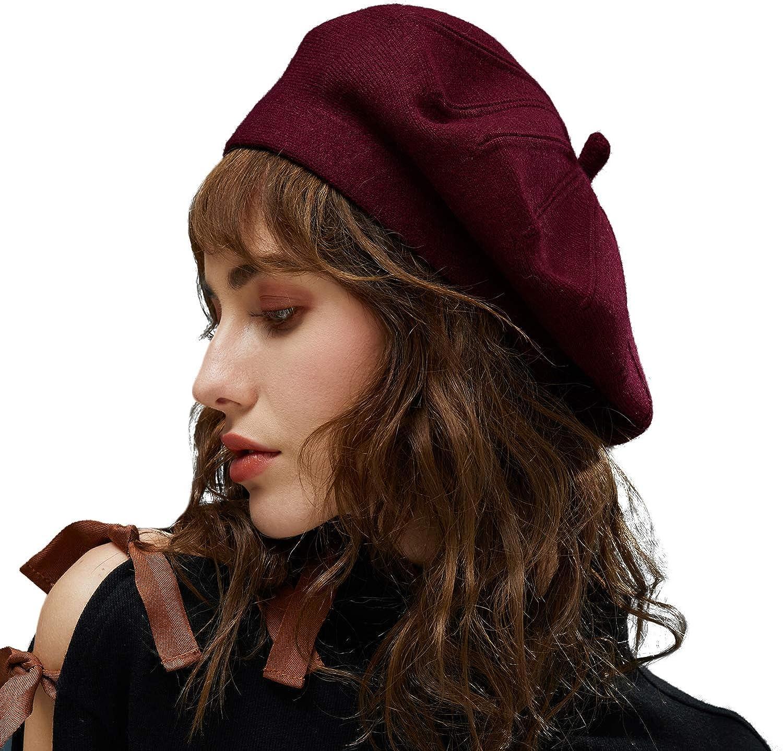 MOSNOW French Beret Artist Hat, Classic Solid Color Basque Beret Caps Autumn Winter Hat for Women Girls Ladies