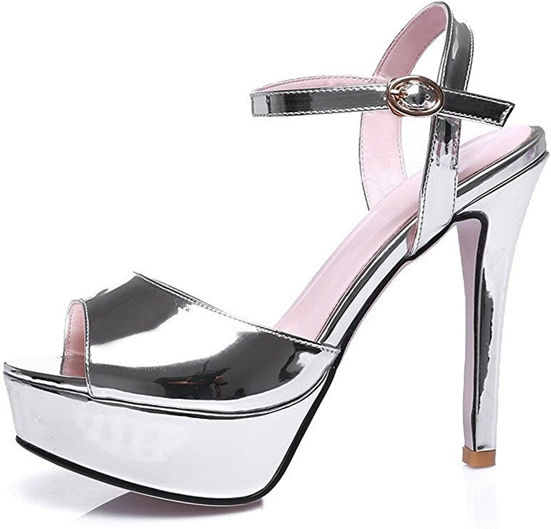 TOGIC Elegant Comfortable Women's Pu Solid Buckle Peep Toe Spikes Stilettos Sandals