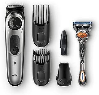 Braun Beard Trimmer & Hair Clipper, Detail Trimmer Attachment + 2 Combs + Fusion ProGlide Razor Included, BeardTrimmer BT5060, Cordless, Black/Silver
