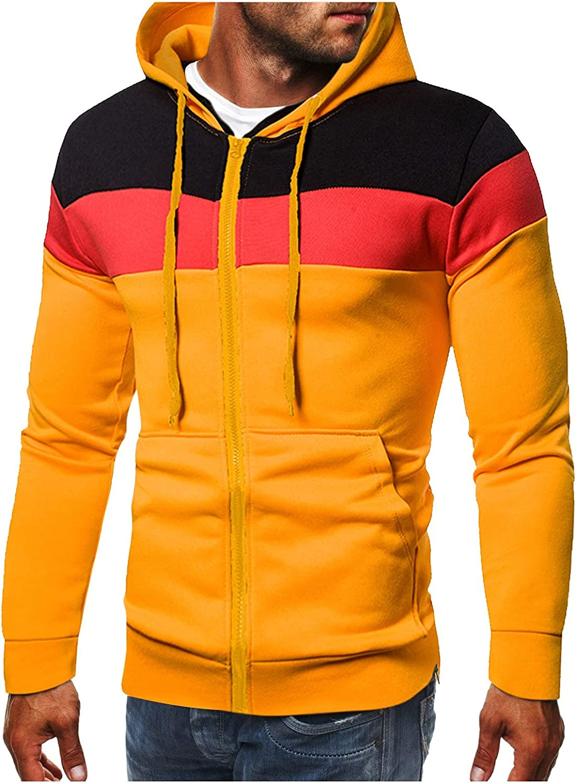 Men's Fleece Sweatshirt Contrast Color Pullover Hoodie Lightweight Athletic Hoodies Sport Sweatshirt Hip Hop Pullover
