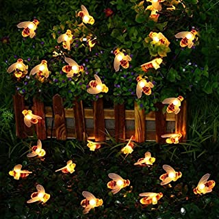 LED Solar Lights, Outdoor Waterproof Bee Lamp Lawn Garden Decoration Flashing Lamp 8 Mode for Garden Lighting for Flower F...