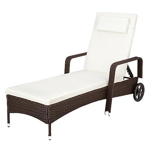 TecTake Chaise Longue Bain de Soleil en Résine Tressée Transat - diverses couleurs au choix - (Marron/Noir)