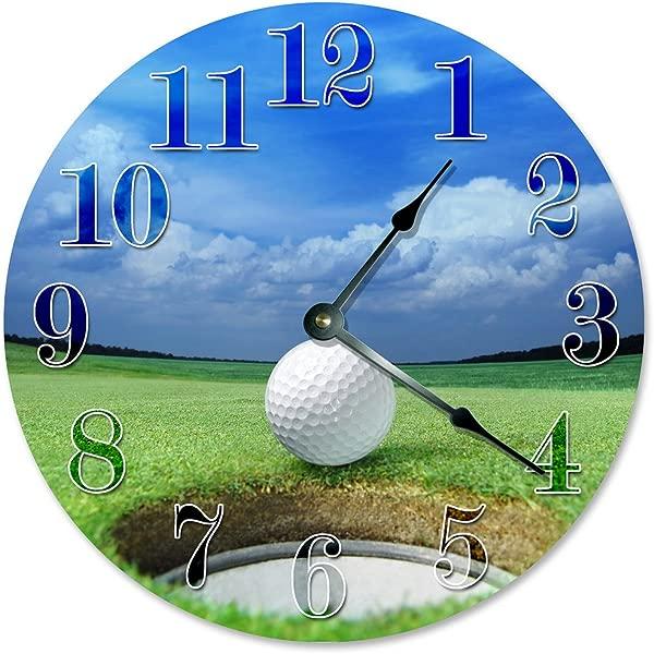 Sugar Vine Art Golf Ball Hole Unique Clock Large 10 5 Wall Clock Decorative Round Wall Clock Home Decor Golfing Clock Golfer Gift